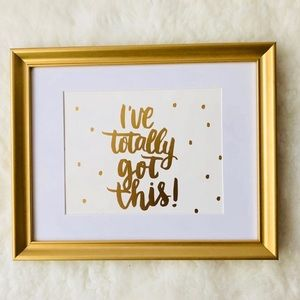 None Accents - SET OF Two 11x14 Gold Frames Quote Art